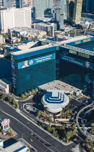 Aerial shot of the MGM Grand