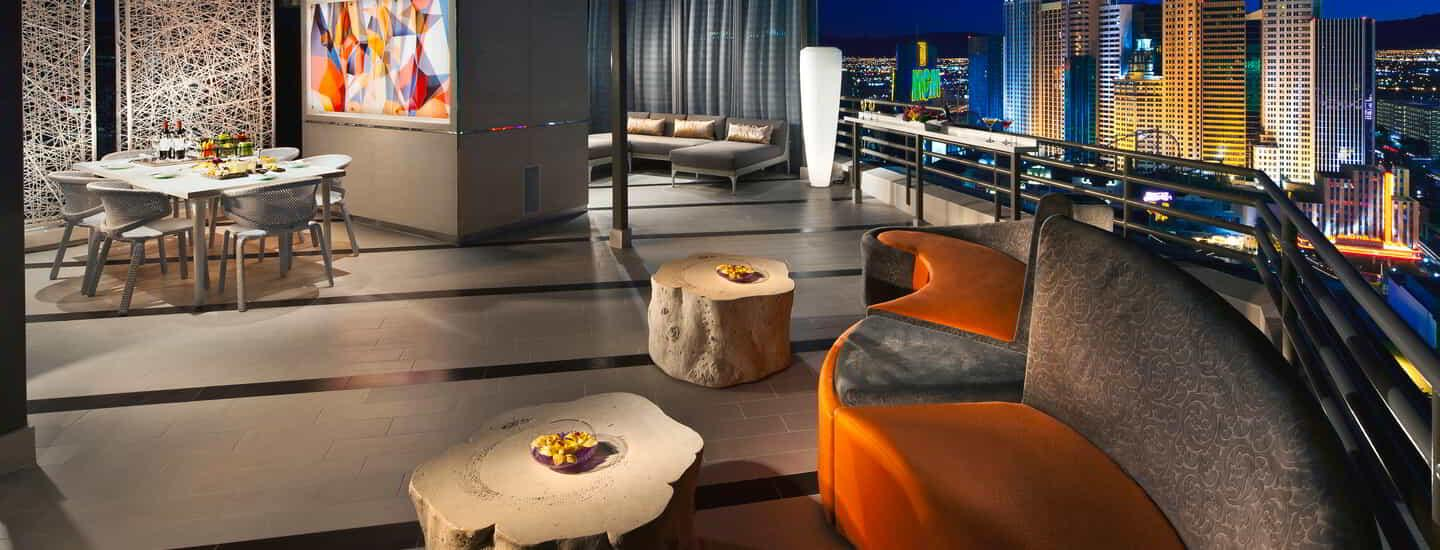 Floor-to-ceiling windows offer unbeatable views of The Strip