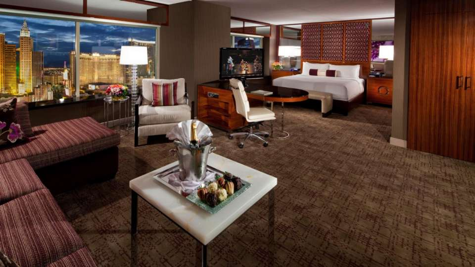 Ideal for a Vegas Getaway, this suite features a king size bed, extended living area, and a whirlpool spa tub.