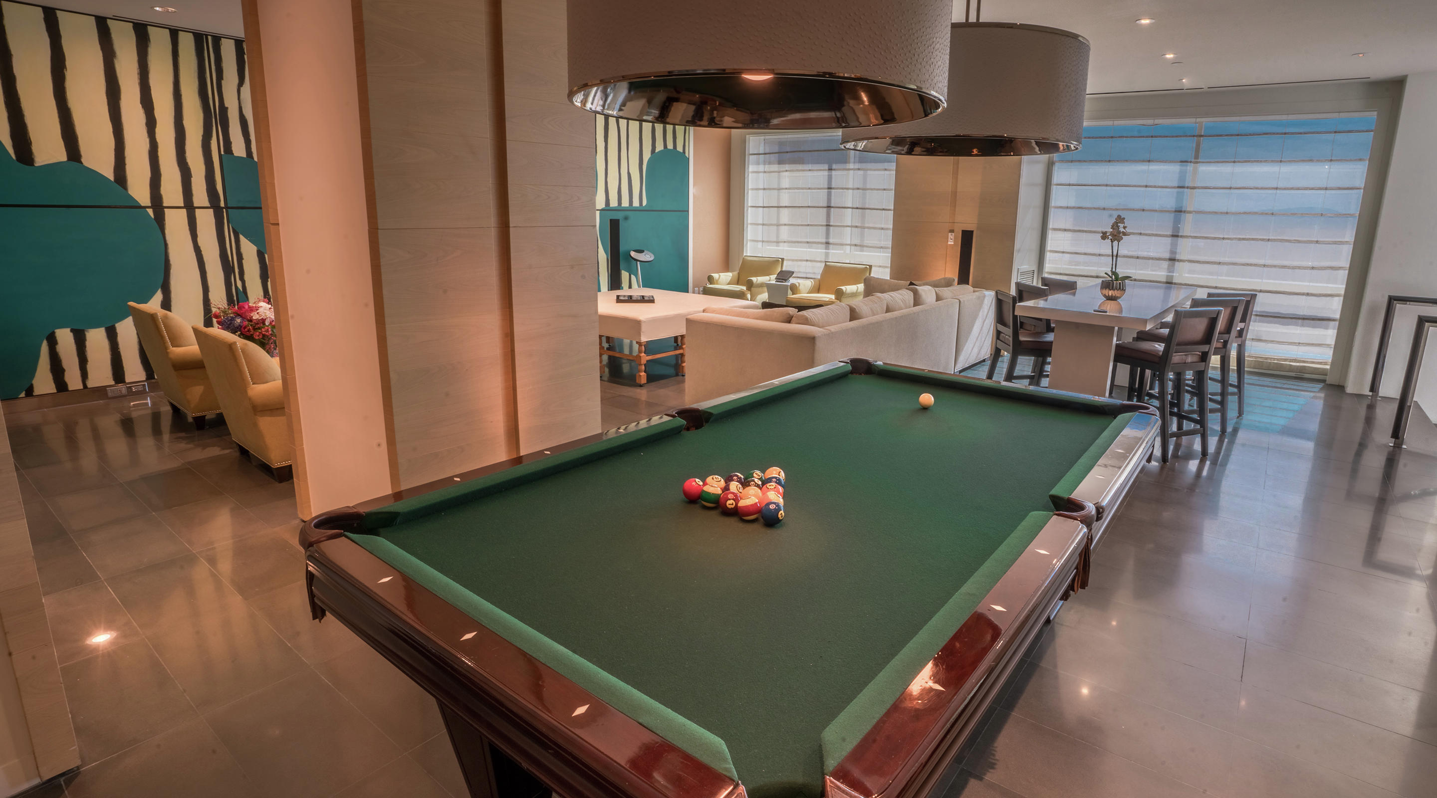 Pool table in the SKYLOFTS Two Bedroom Plunge Pool Loft at SKYLOFTS.