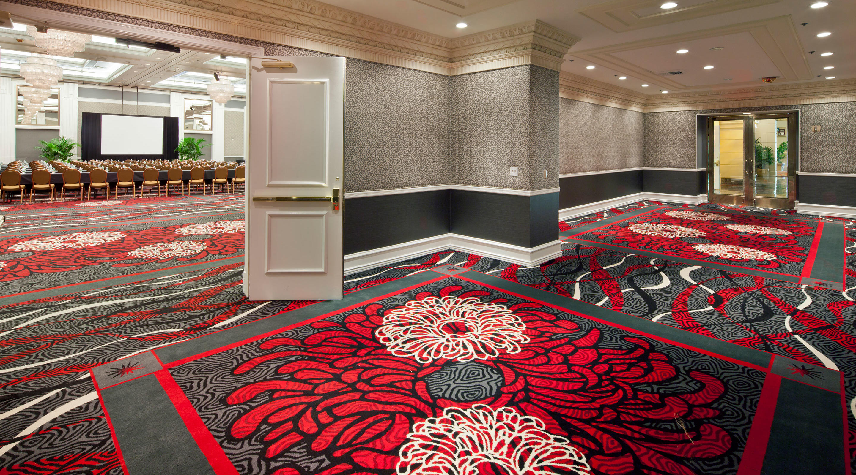 Entrance to the Studio Ballroom with classroom layout at MGM Grand
