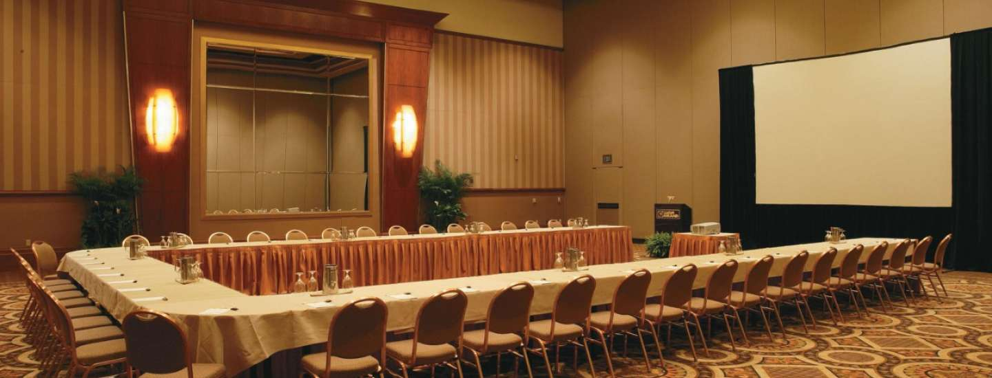 One of the meeting rooms with u-shape table inside the Conference Center at MGM Grand