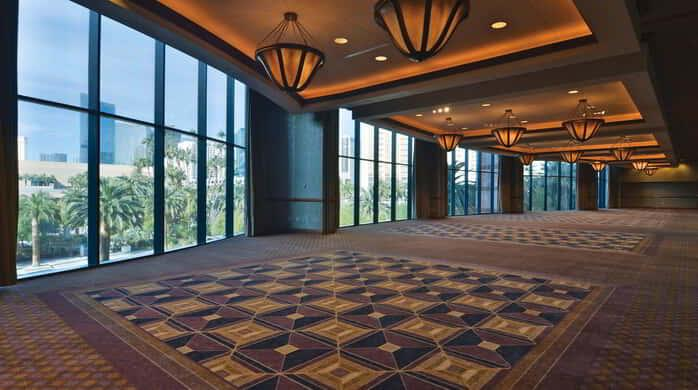 A side view from the left of the Vista Foyer inside the Conference Center at MGM Grand