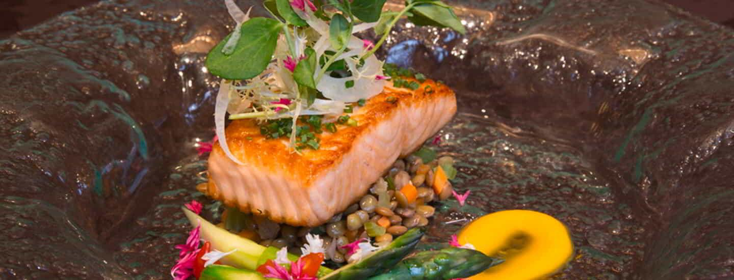 Olive Oil Poached Salmon avaiable on the Stay Well Meetings Catering Menu at MGM Grand