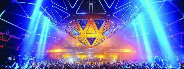 A lit up version of the Hakkasan stage at MGM Grand.