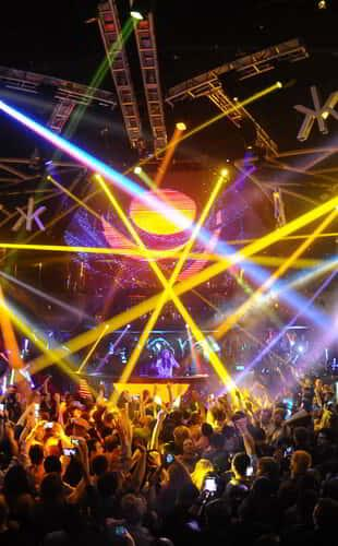 Hakkasan nightclub with dj performing with dance lights on at MGM Grand