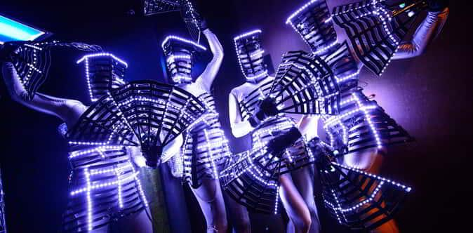 Hakkasan Nightclub go-go dancers in costume while dancing at Hakkasan Nightclub inside MGM Grand