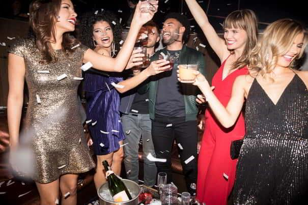 Image of a young crowd enjoying bottle service at Hakkasan Nightclub.