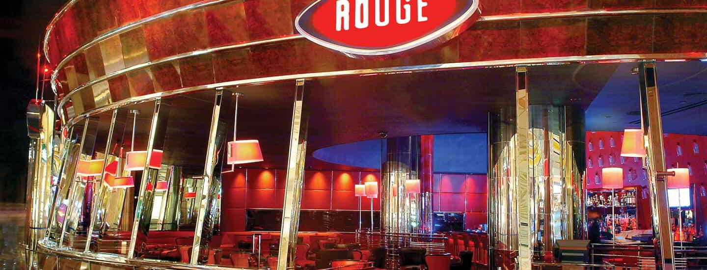 A wide angle shot of the exterior of Rouge