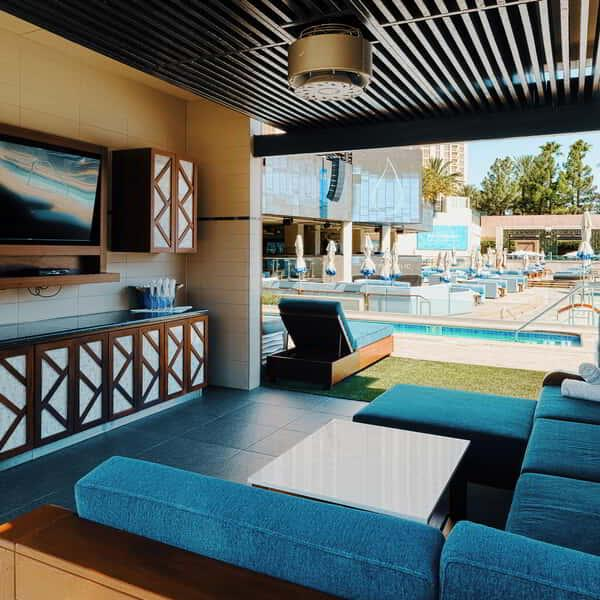 an internal of a cabana at Wet Republic.
