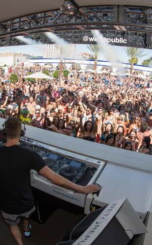 MGM Grand Celebrity DJ Calvin Harris performing resident venue at Wet Republic