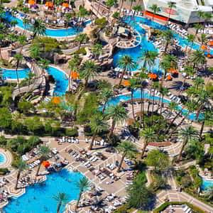 6.5 acres of pool; an aerial image of the grand pool complex at MGM Grand Las Vegas.