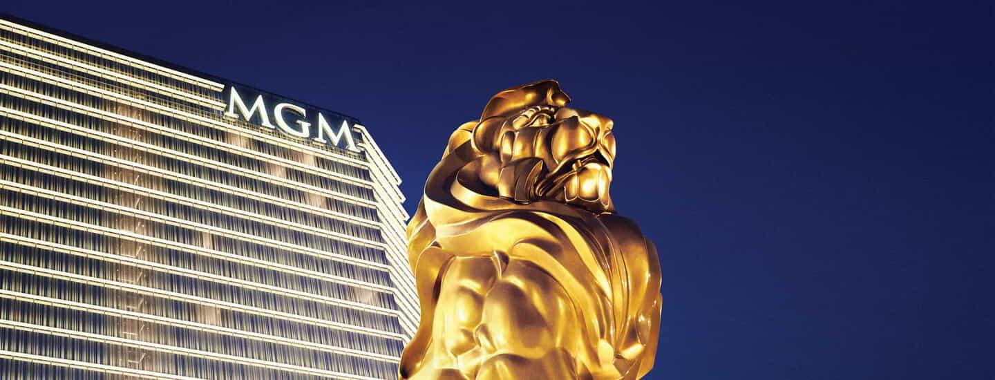 Exterior view of MGM National Harbor tower and lion statue.