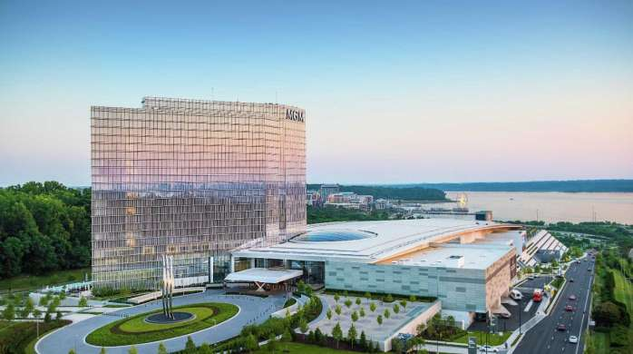 MGM National Harbor overlooks the famous Capital wheel in National Harbor.
