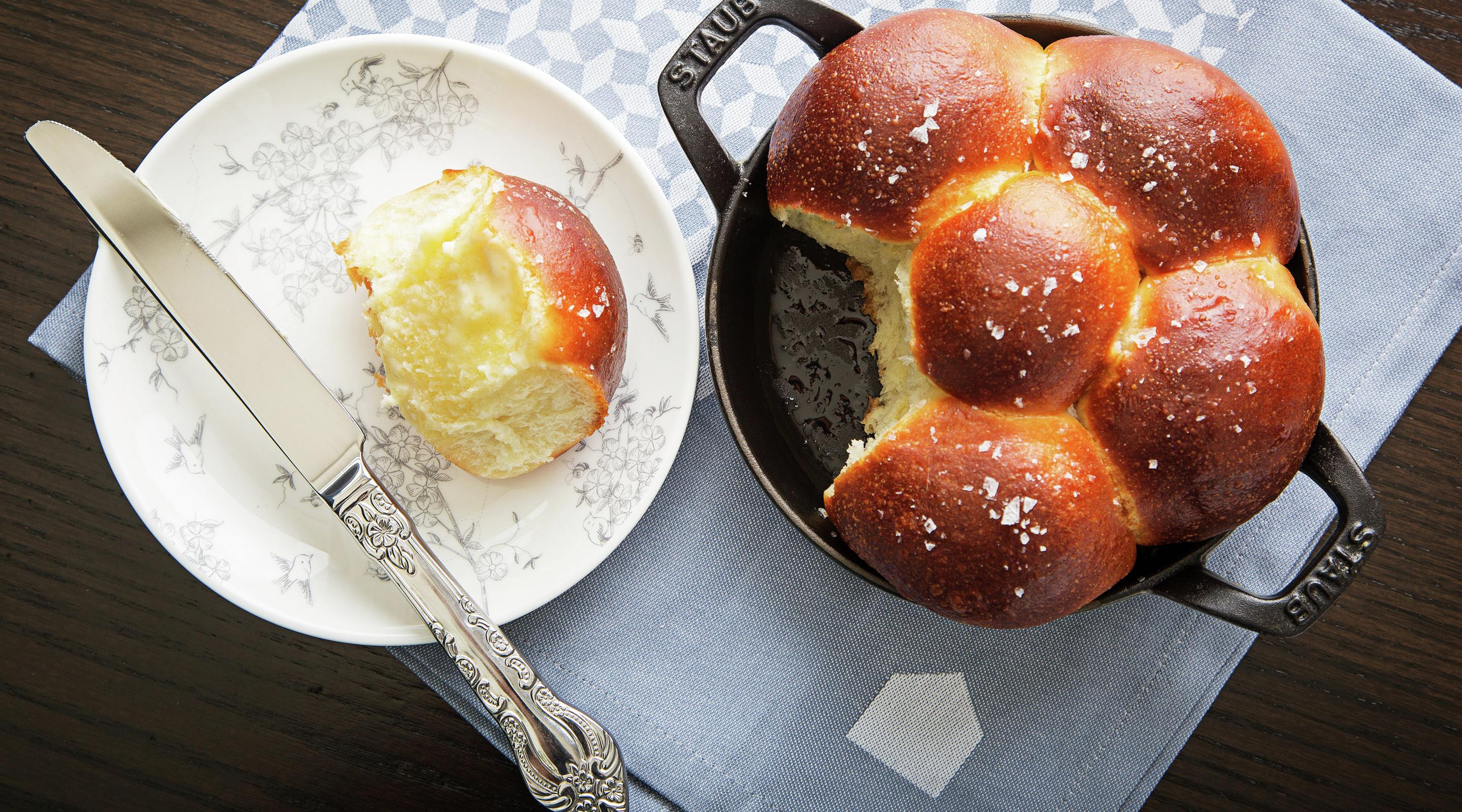 Enjoy freshly baked bread rolls at the Voltaggio Brothers Steakhouse.