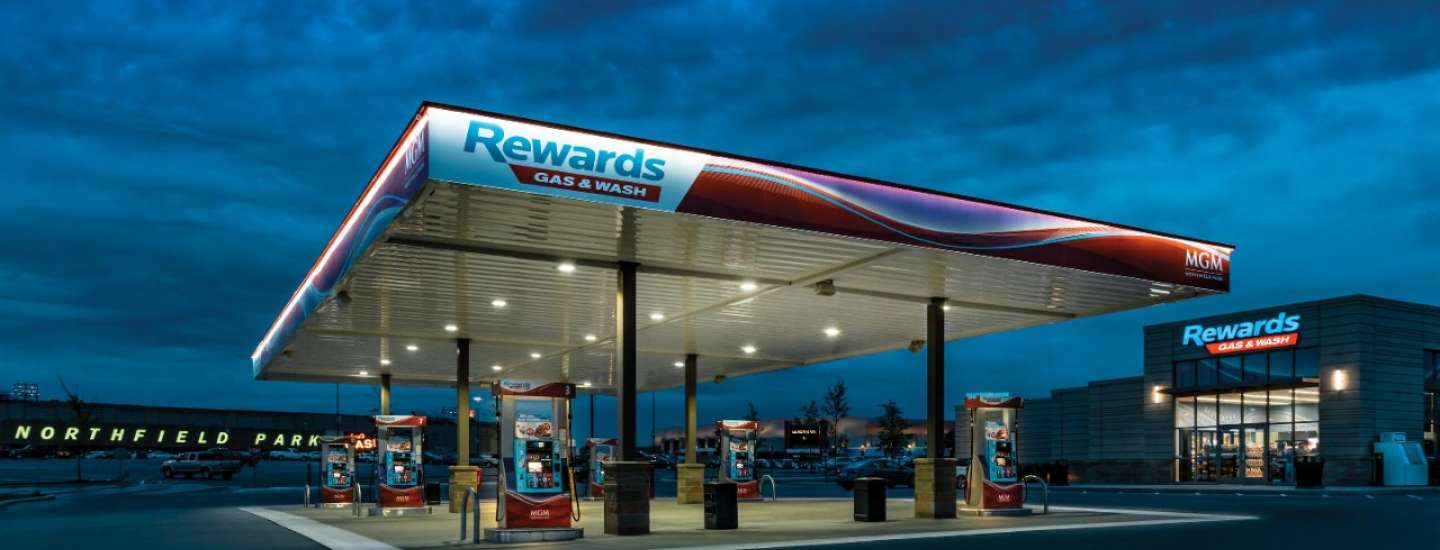 An exterior of Rewards Gas & Wash Gas Station.