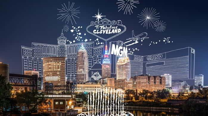 Las Vegas skyline and welcome sign superimposed over the Cleveland skyline.
