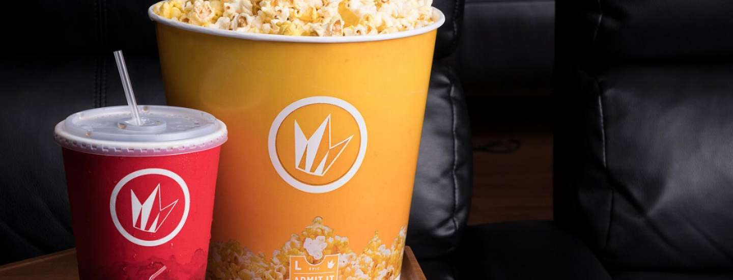 Enjoy a large popcorn and Soda while you relax in the reclining chairs at Regal.