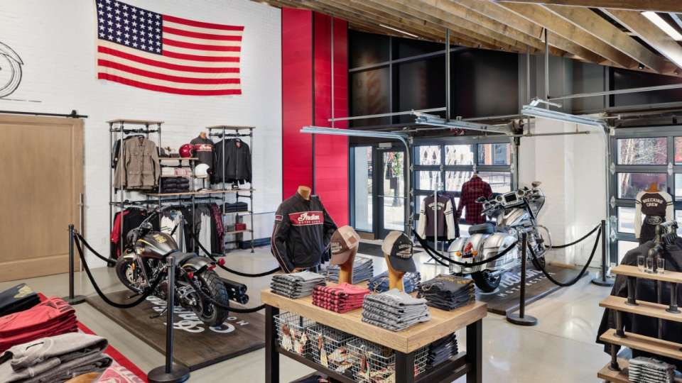 Indian Motorcycle Store Interior.