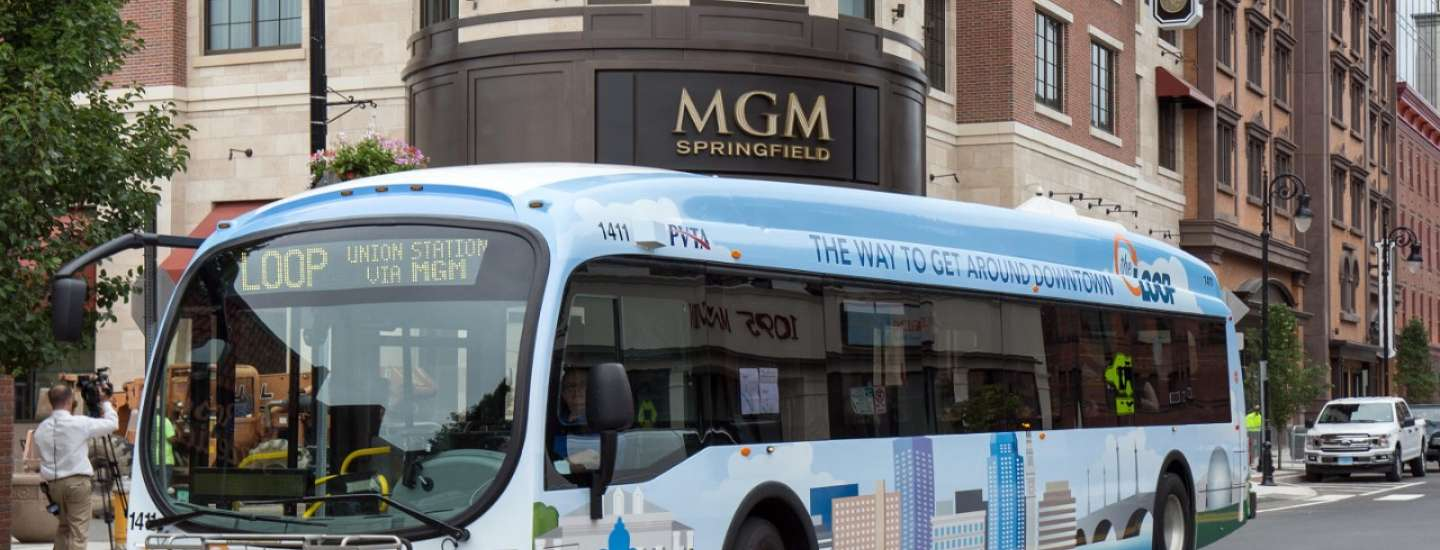 Free public transportation bus owned by MGM Springfield.