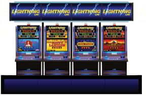 Four different lightning link slot machines lined up.