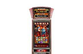 Rumble Rumble slot machines features a bull and red lighting.