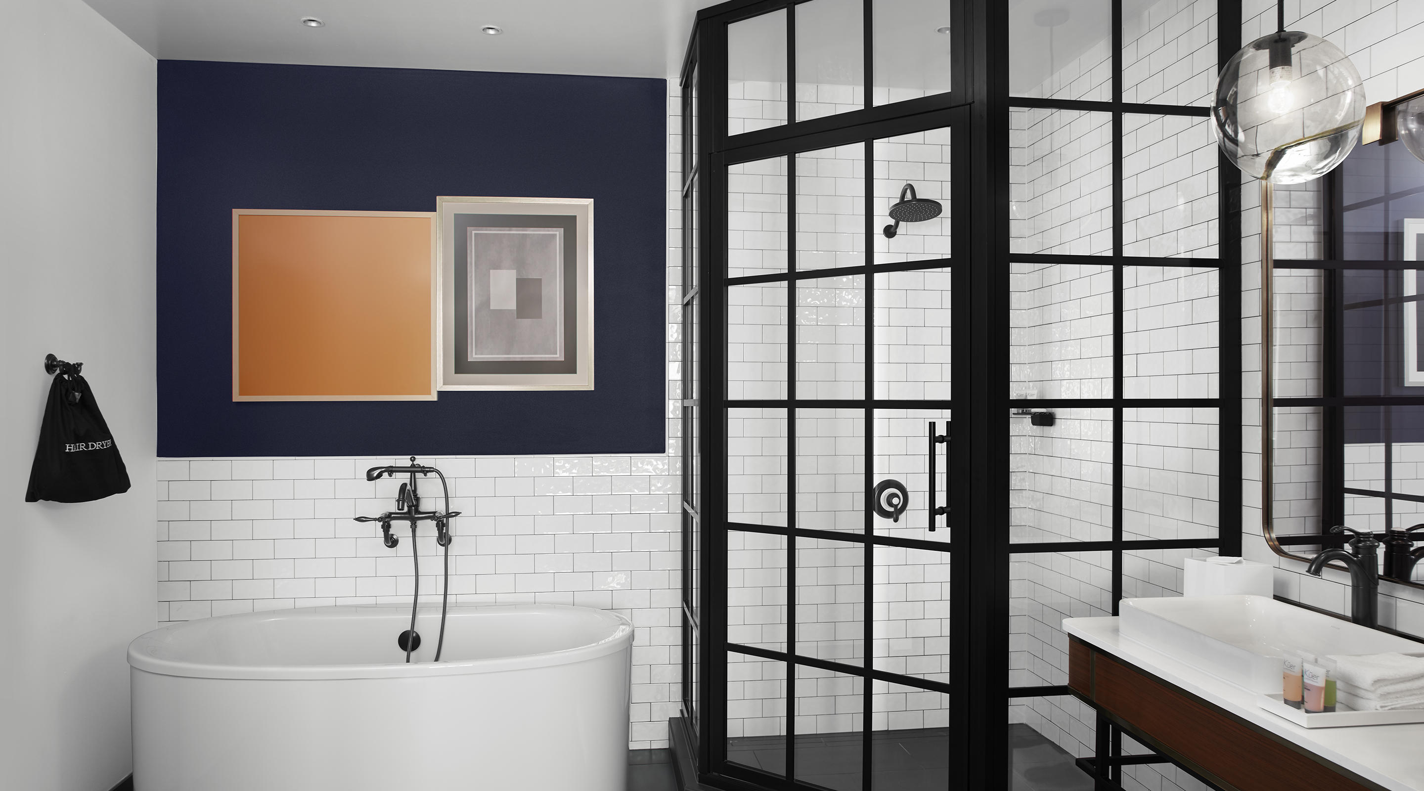 Subway tile is featured all through these modern day bathrooms.