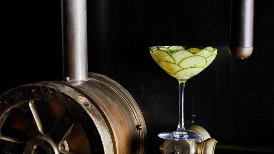 A cucumber cocktail from the Knox Bar.