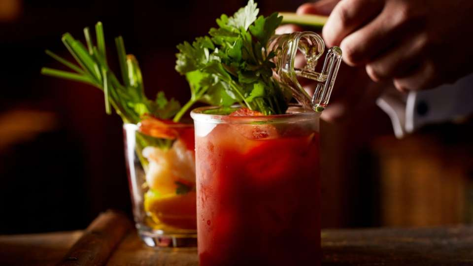 Start the day off right with a cold Bloody Mary.
