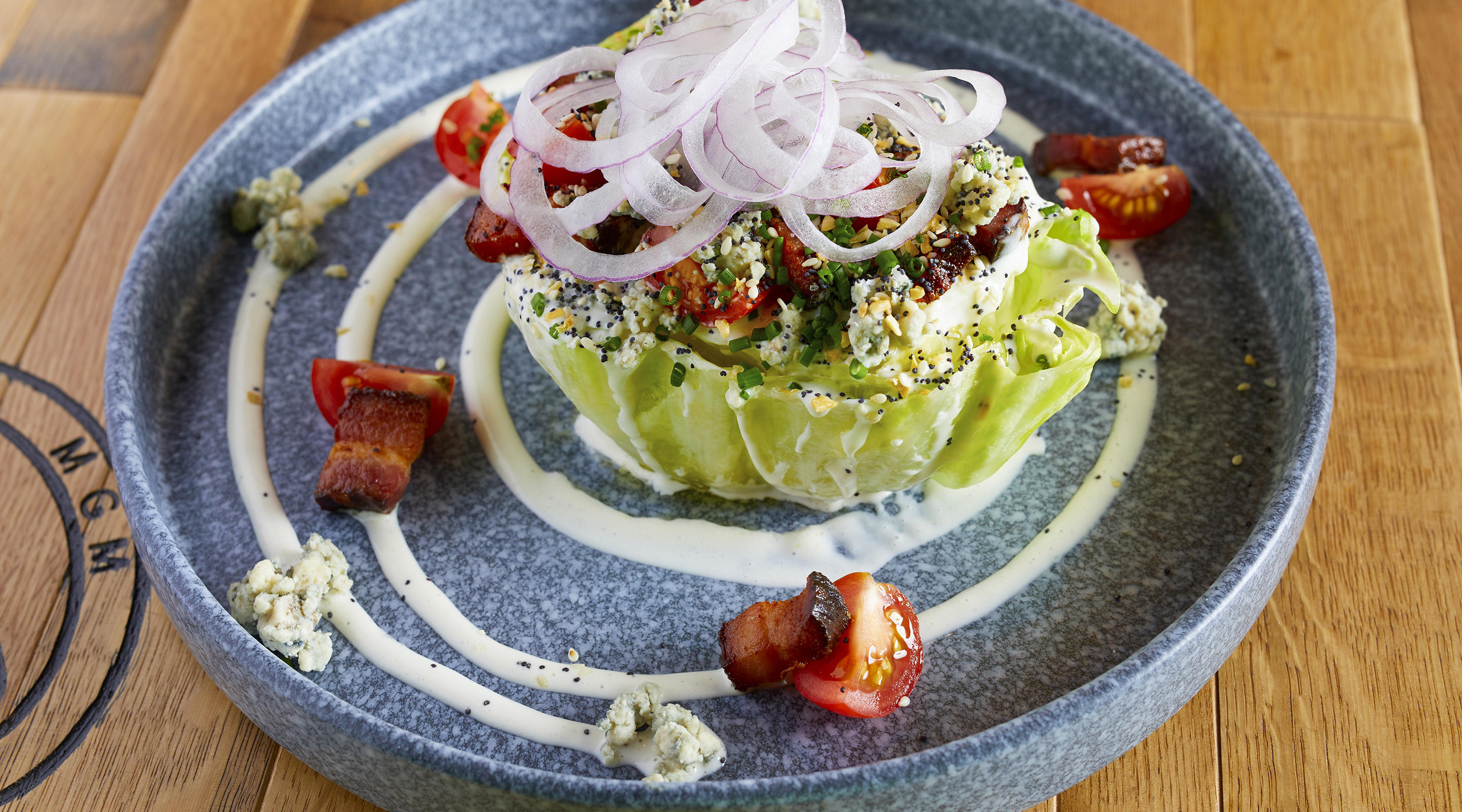 Our wedge salad is topped with great flavored.