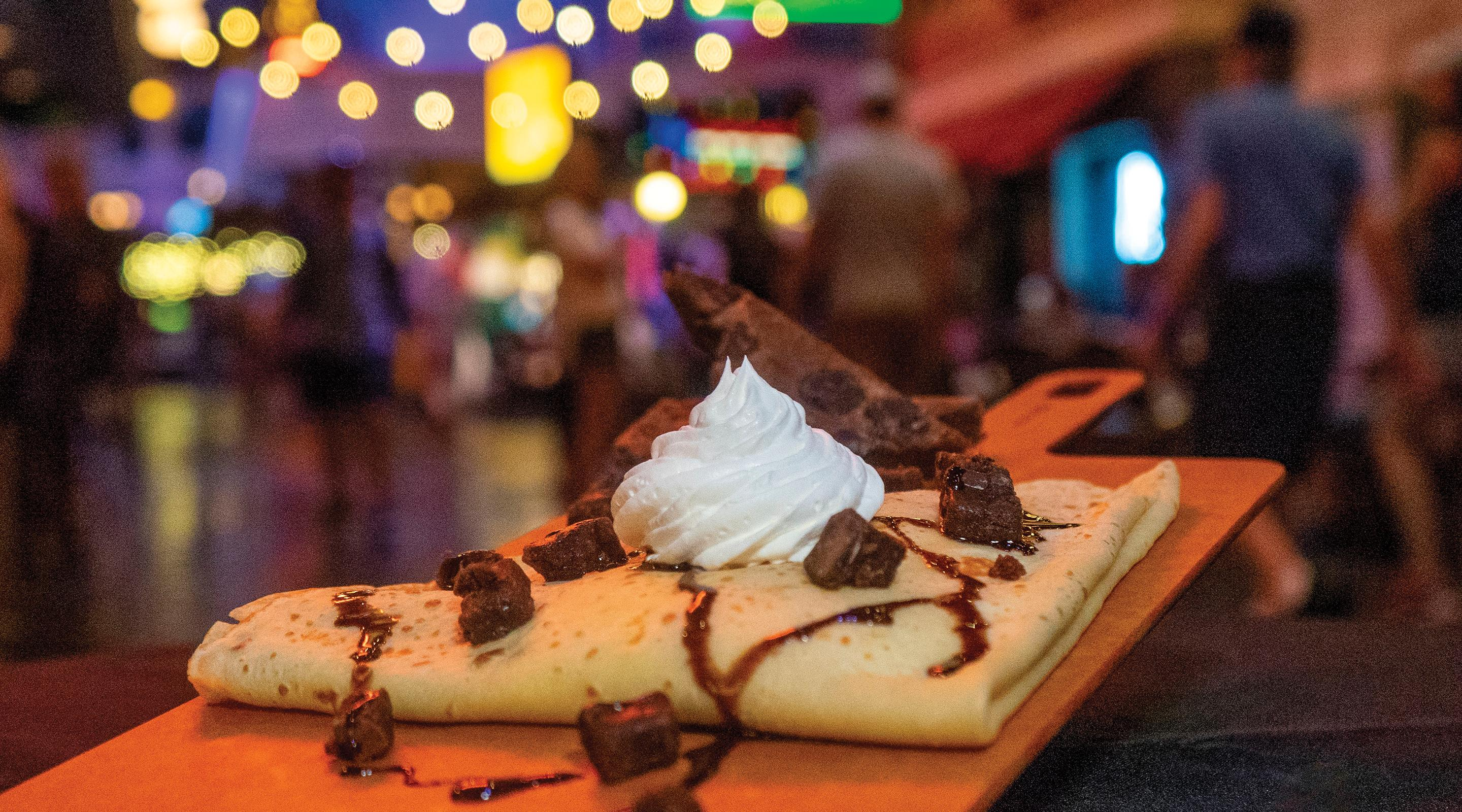 Mud pie crepe with brownie.