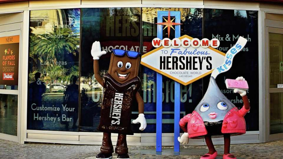 Take pictures with Hersheys characters.