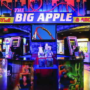 The Entrance to The Big Apple Coaster and Arcade