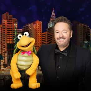 Terry Fator with Winston the turtle puppet at New York-New York hotel.