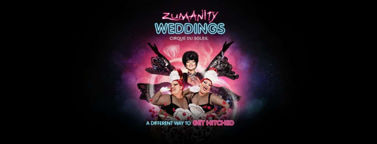 Zumanity Weddings with three performers smiling.