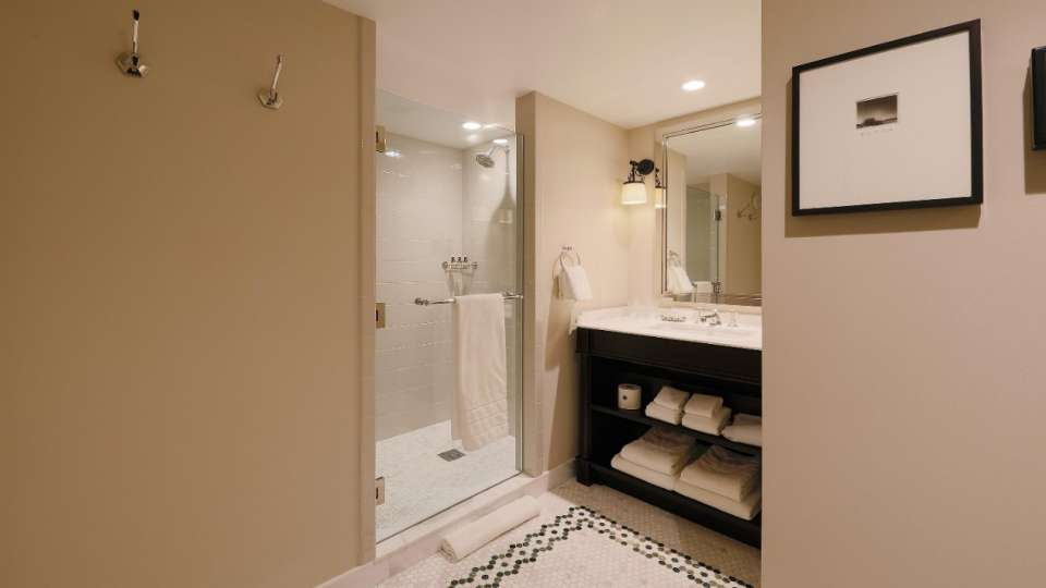 A shower room in Grande Suite at NoMad Las Vegas.