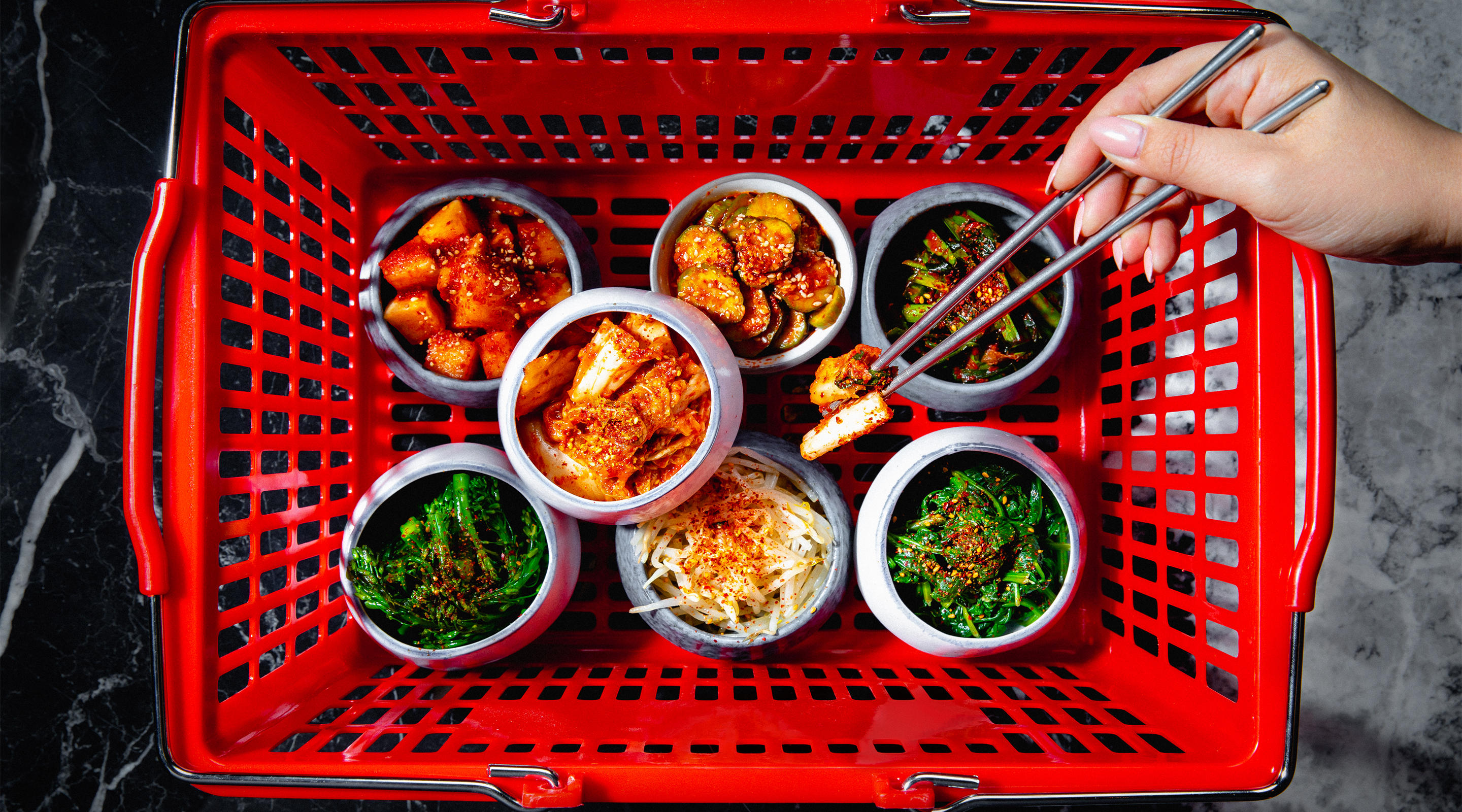 A basket of tasty banchan.