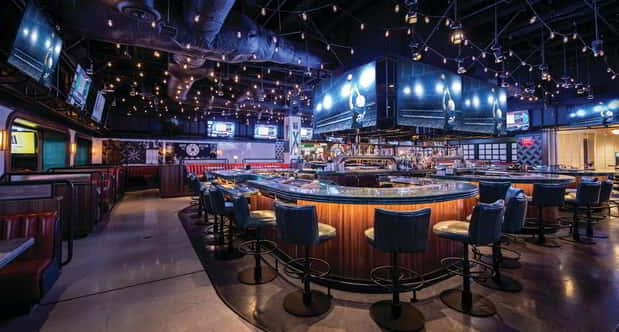 The view of the bar at BetMGM Sportsbook.