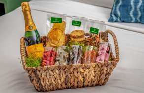 Enjoy a snack basket and indulge in delectable treats without leaving your room.