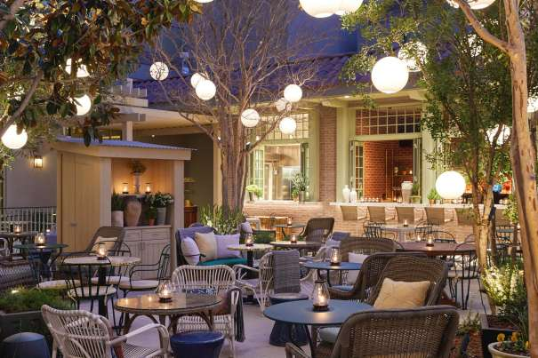 Image of the outdoor terrace and garden at Primrose restaurant.