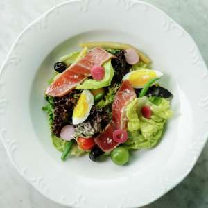 Primrose Tuna Nicoise Salad on a plate.