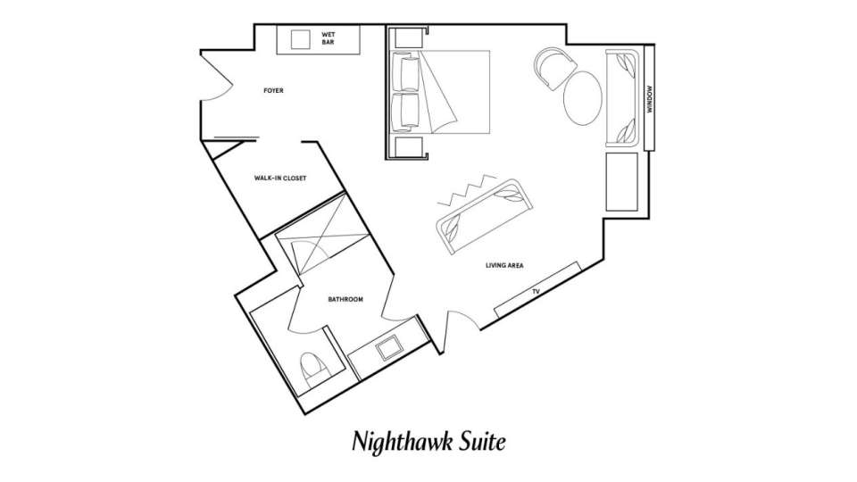 Floor Plan image of the Nighthawk Suite at Park MGM Las Vegas.