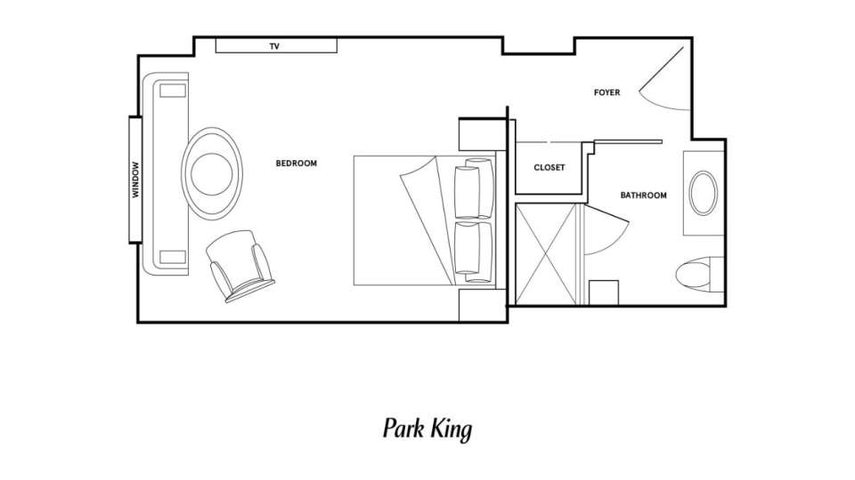Floor Plan image of the Park King room at Park MGM Las Vegas.