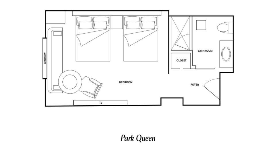 Floor Plan image of the Park Queen room at Park MGM Las Vegas.