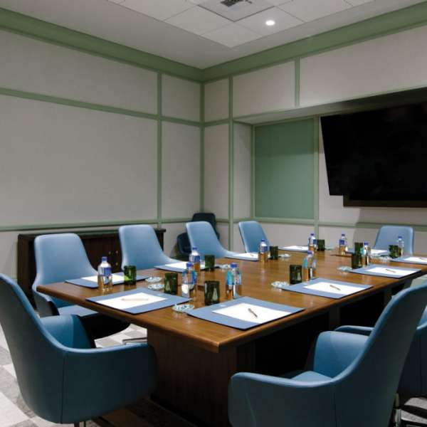 Boardroom setup in a Madison Meeting Center room.