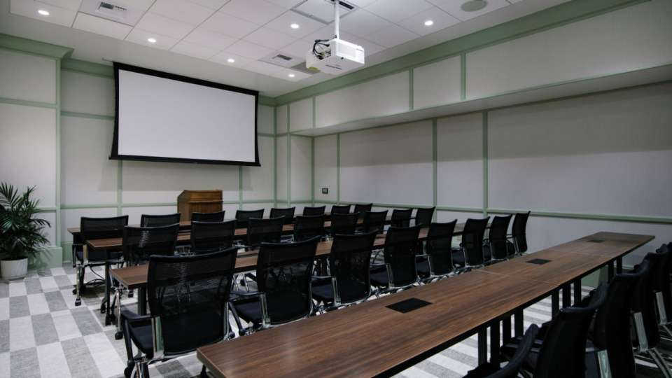 Classroom setup in a Madison Meeting Center room.