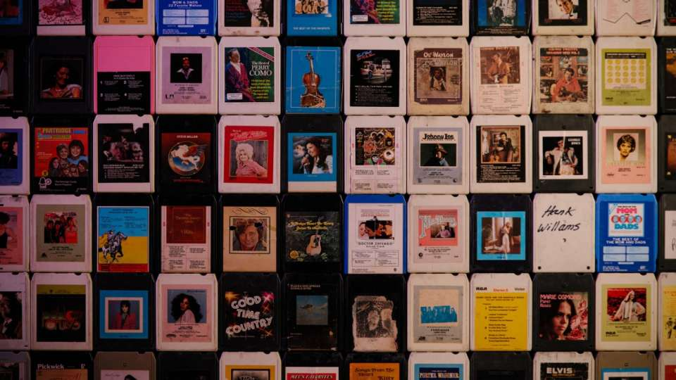 Retro cassette tapes used as wall decor.