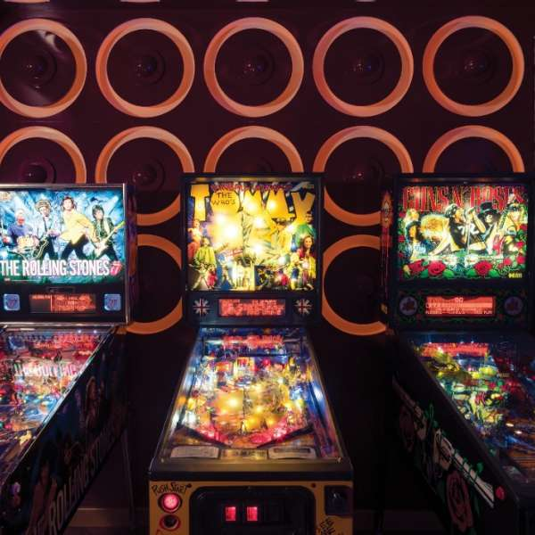 View of the pinball machines at On The Record.