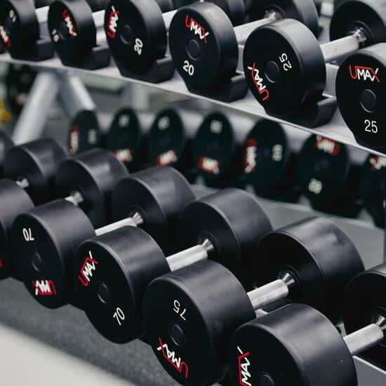 Dumbbells on a weight rack in the gym at Park MGM.