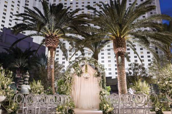 Wedding setup by the Park MGM pool.